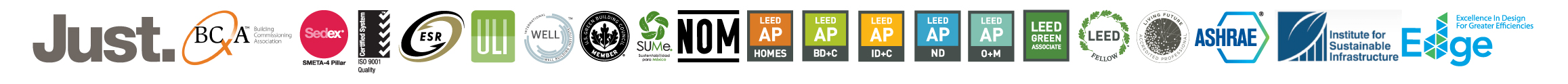 CERTIFICACIONES LEED AP, LEED Fellow, Edge, ESR, ISO 9001, SUME, WELL