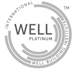 Logotipo Certificación WELL nivel platino avalado por el International Well Building Institute que es obtenido al cumplir el 100% de las precondiciones de su tipiología más mínimo 80% de las optimizaciones aplicables.