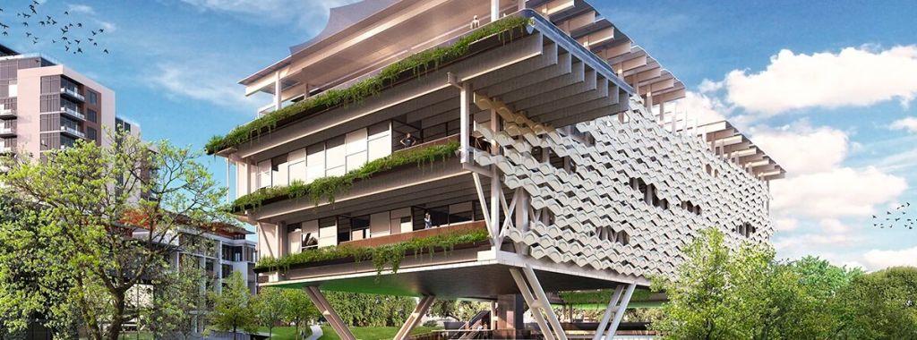 Render de la visualización del primer proyecto 100% sustentable edificio energía cero de Latinoamérica y que estará ubicado en el centro comercial Arboleda en San Pedro Garza García.