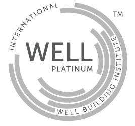 Logotipo Certificación WELL V2 nivel platino avalado por el International Well Building Institute que es obtenido al cumplir mínimo 80 puntos